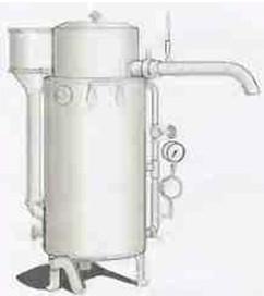 Рис.13 Этот тип  пастеризатора с турбинным приводом мешалки производился и продавался фирмой АВ Separator с 1896  по 1931 год.