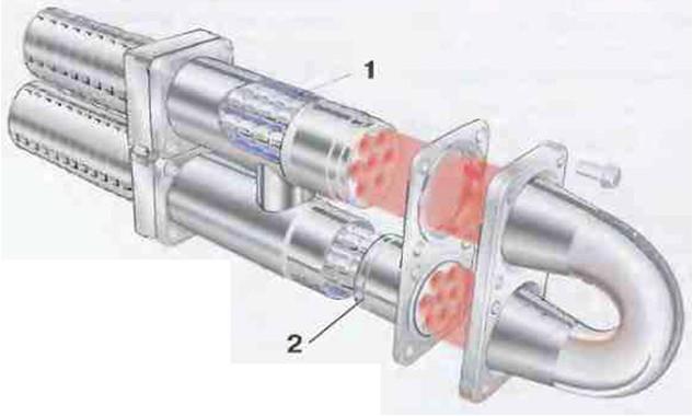 Рис.19 Концевая часть многотрубного теплообменника. 1Продуктовые грубы,  окруженные охлаждающей средой 2Сдвоенное уплотнительное кольцо