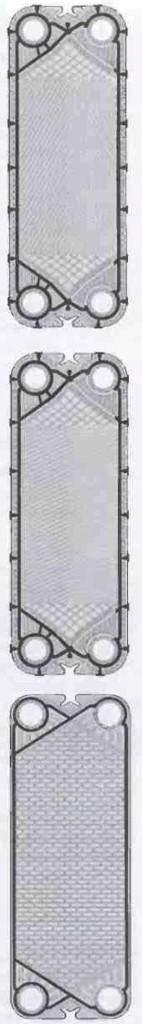 Рис.10 Форма пластины в теплообменнике пластинчатого типа может различаться в зависимости от того, какой продукт должен проходить обработку, от требований к коэффициенту теплопередачи.