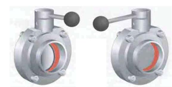 Рис.10 Шиберная заслонка с ручным управлением в открытом  (слева) и закрытом (справа) положении.