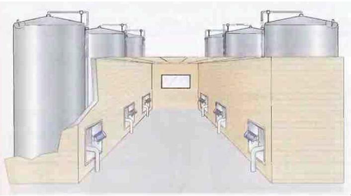 Рис.1 Схема размещения танков башенного типа с технологическими люками в проемах стен крытого пункта управления.