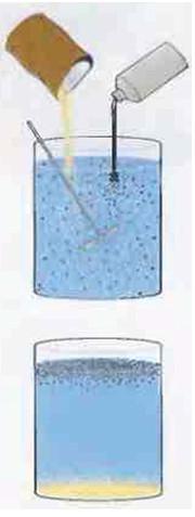 Рис.3 Подмешиваемый в воду песок тонет, а нефть всплывает.