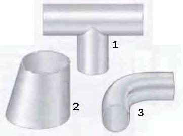 Рис.1 Некоторые виды  арматуры, которые ввариваются  в трубопроводы.  1 Тройники   2 Переходники   3 Колена