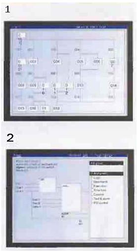 Рис.10 Заложенные в процессор расширенные функции помощи, описания функциональных блоков (1) и схемы последовательности функций (2) являются эффективным и легко читаемым языком программирования.